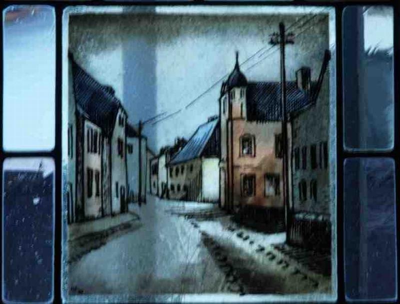 Fensterbild: Das Burghaus mit Engpass