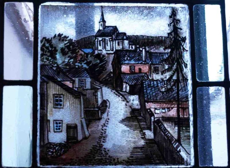 Fensterbild: Weihergasse mit alter Kirche