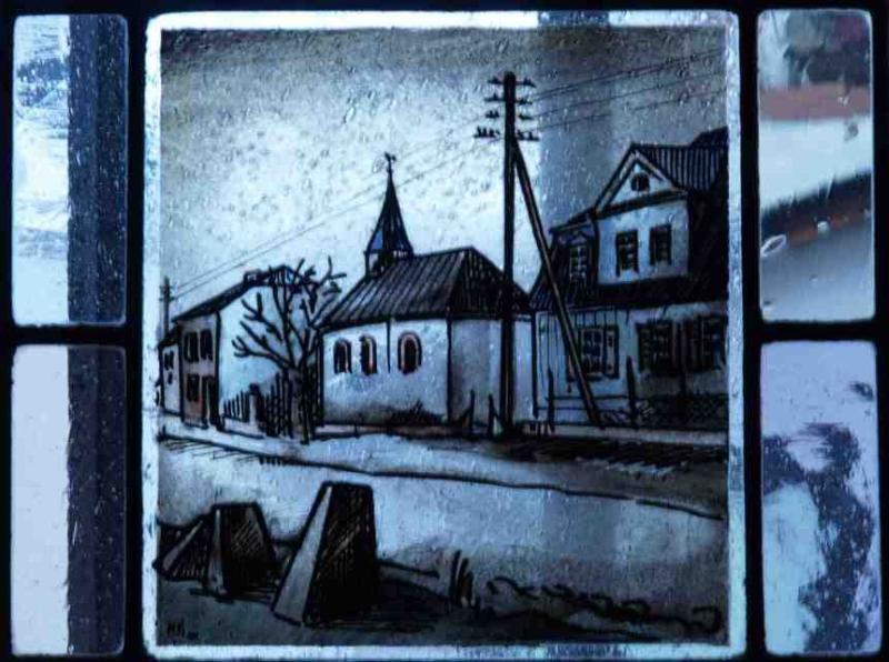 Fensterbild: Die Kapelle an den Zollhausern-zerstort-im-2-weltkrieg